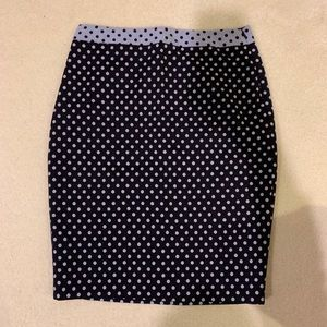 Navy polka dotted pencil skirt
